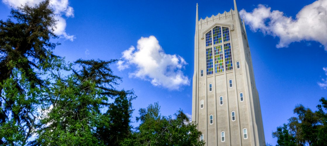 Robert E. Burns Tower at the University of the Pacific - Stockton's world-class university