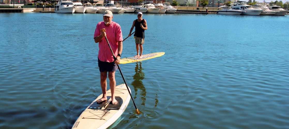 Stand Up Paddle Boarding at the Stockton Marina